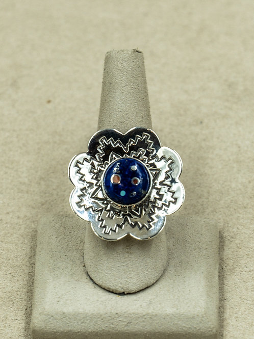 SS Flower w/ Lapis, Turquoise, Coral, & Jet 7.25x Ring by Veronica Benally
