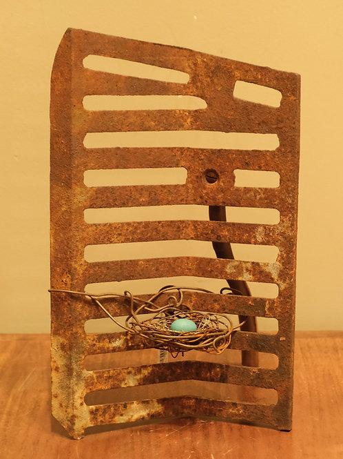 Large Handmade Metal Nest w/ 1 Aqua Egg by Phil Lichtenhan