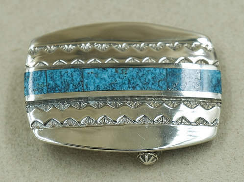 Sterling Silver ZigZag w/ Turquoise Inlay Belt Buckle