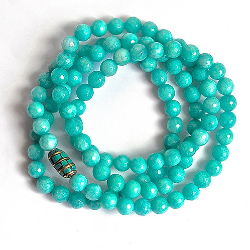 Natural Gemstone Faceted Turquoise Teal 8mm Bead Mala