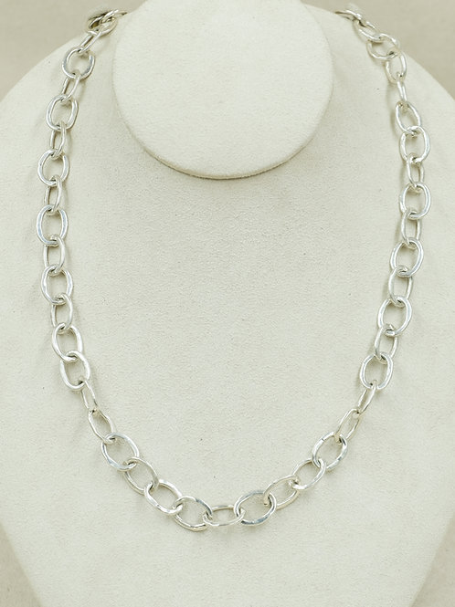 Sterling Silver Shiny Hand Forged Small Link Necklace by Maggie Moser