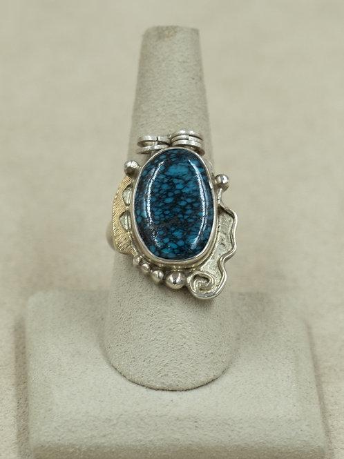 Sterling Silver Asymmetric w/ Hi-Grade Hubei Turquoise 8x Ring