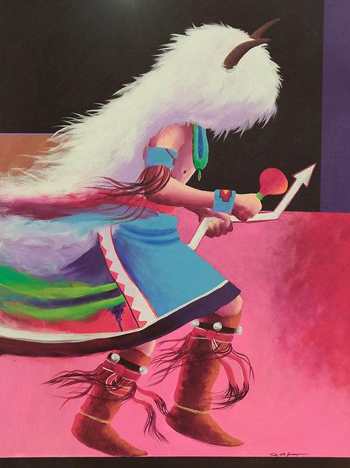 """Buffalo Dance"" Oil on Canvas - 49"" x 36"" - Tim Nevaquaya"