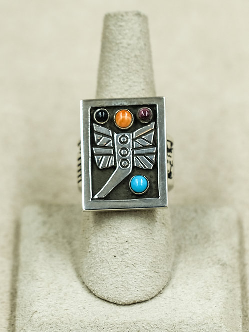 Sterling Silver Dragonfly Multi-Stoned 7x Ring by Aaron John