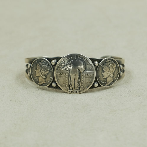 Mercury Silver Dime Cuff w/Quarter Center Coin by Peyote Bird