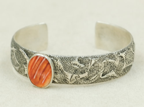 Sterling Silver w/ Reverse Leaves & Spiny Oyster Cuff by Cheryl Arviso