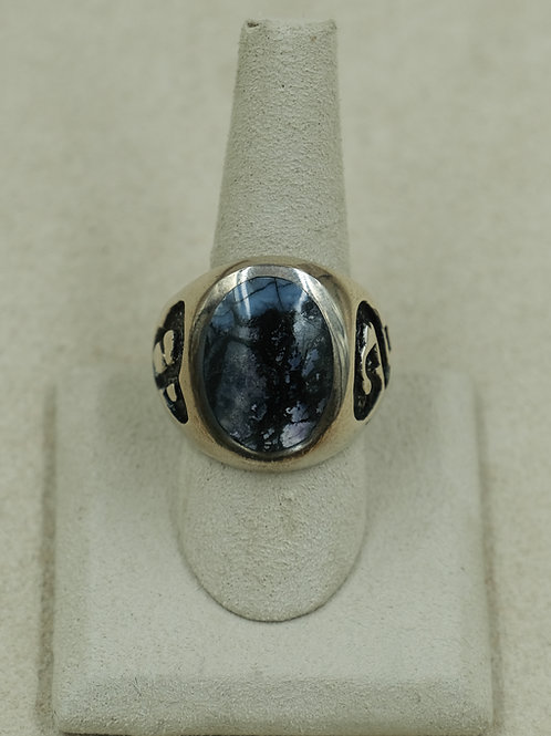 Sterling Silver Siberian Blue Fossil w/ Mammoth Tooth 12x Ring by GL Miller