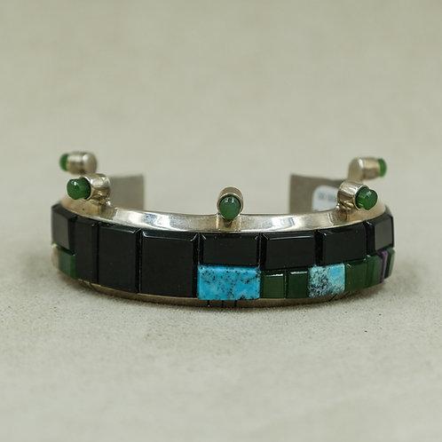 SS Cuff w/Black Jade, Green Jade, Sugilite & Blue Gem Turquoise by Dukepoo