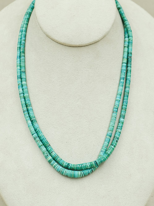 SS w/ Natural Hi-Grade Carico Turquoise 2 Strand Necklace by Maggie Moser