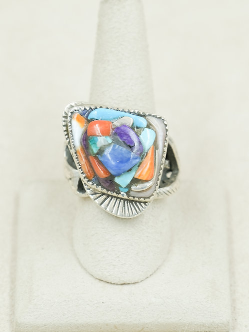 Sterling Silver Eclipse Overlay & Inlay 10x Ring by Robert Mac Eustace Jones