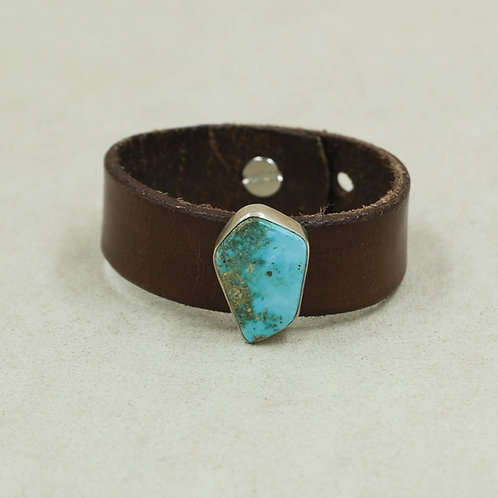 Leather Cuff with Stab Kingman Turquoise by Peyote Bird