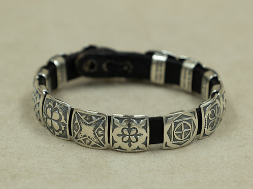 """Sterling Silver w/ 1/2"""" Square Conchos on Leather Bracelet by Rick Montano"""