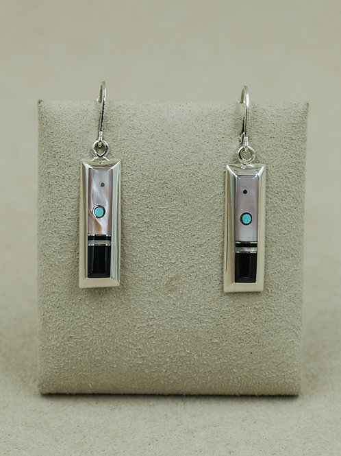 SS Rectangle Mother of Pearl, Turquoise & Onyx Earrings by Veronica Benally