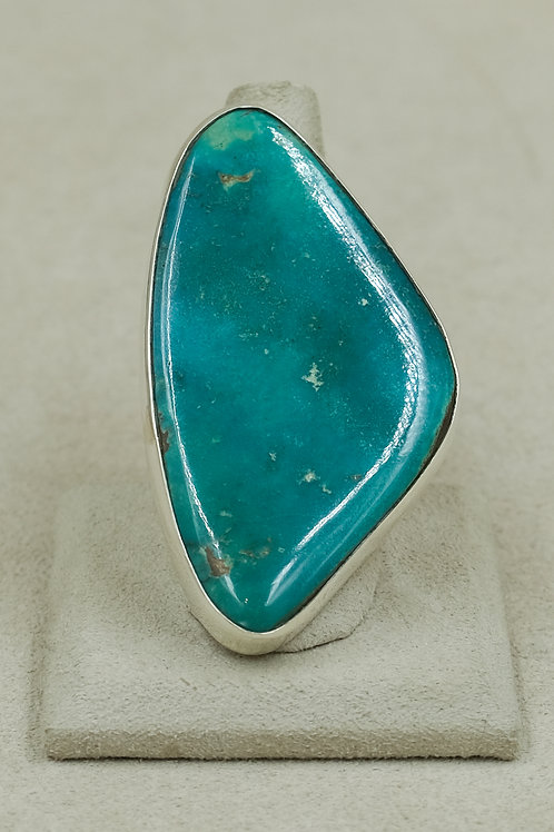 Vintage Blue Gem Turquoise 8x Sterling Silver Ring by James Saunders