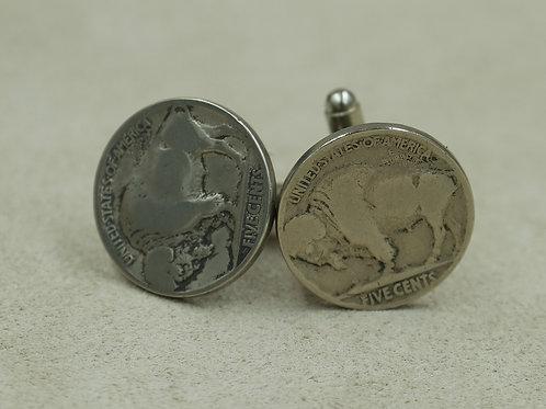 Sterling Silver Buffalo Nickle Cufflinks