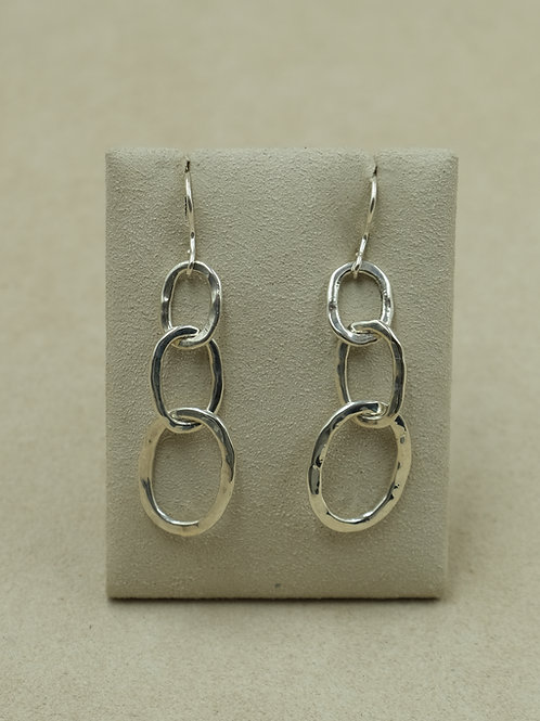 Sterling Silver Small Hammered Link Earrings by Maggie Moser