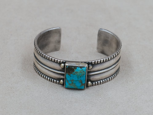 Sterling Silver Rectangle Ingot w/ Kingman Turquoise Cuff by Mike French
