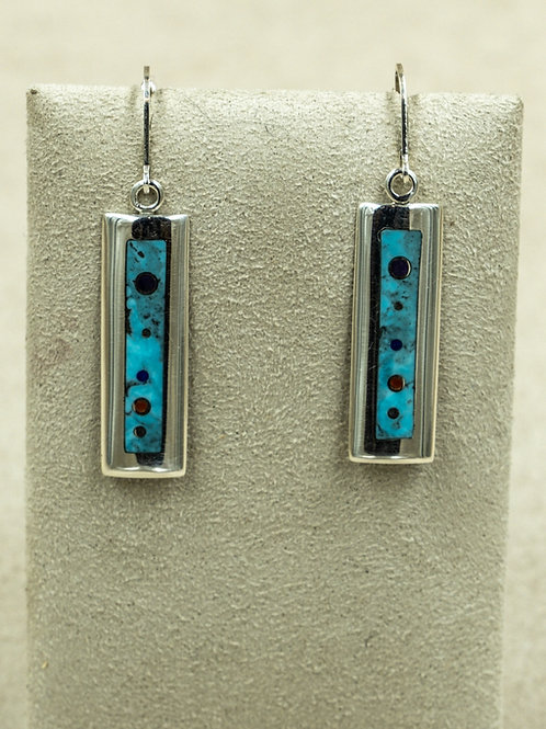 Long Low Dome w/ Lapis, Coral, Turquoise Inlay Earrings by Veronica Benally