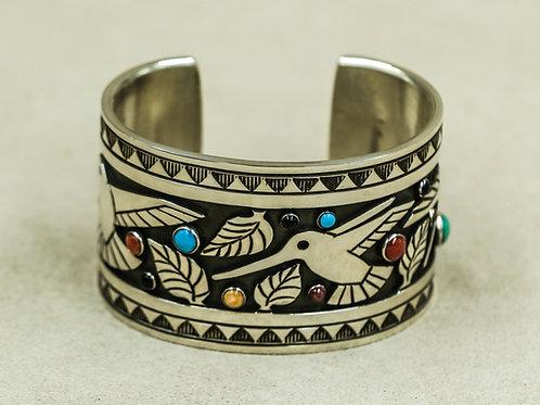 Sterling Silver Wide Hummingbird Multi-Stone Cuff by Aaron John