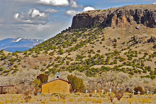Sacred Black Mesa and Adobe Chapel, Against the Sangre de Cristo Mountains