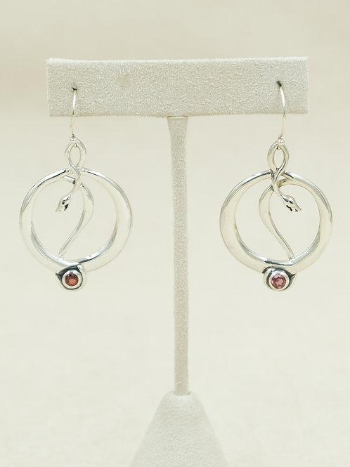 Sterling Silver Snake w/ Rhodolite Garnet Earrings by Roulette 18