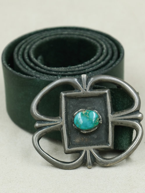 1960's-70's Sand Cast Sterling Silver & Turquoise Old Belt Buckle