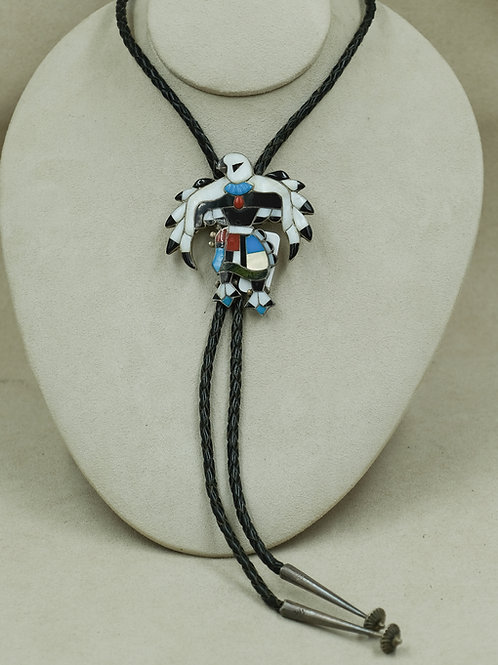 """1960's Sterling Silver """"Eagle Dancer"""" Bolo by Chas & Maryann Poncho"""