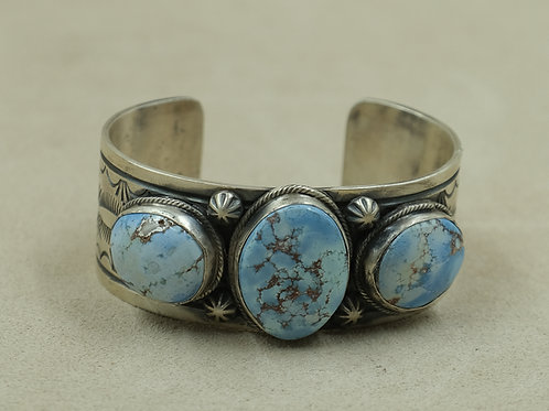 Sterling Silver w/ 3 Large Golden Hills Turquoise Stones Cuff by SWJ Designs