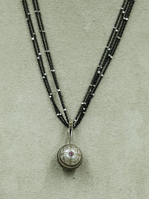 14k White Gold Pendant w/ Carved Tahitian Pearl by Reba Engel