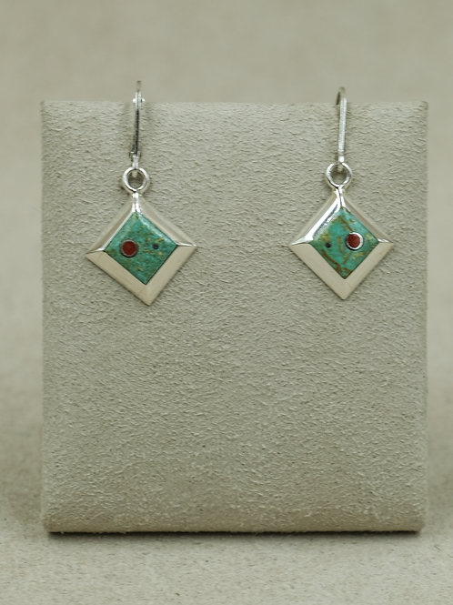 SS Diamond-Shaped Green Turquoise & Coral Wire Earrings by Veronica Benally