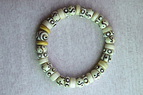 White Etched Beads Bracelet
