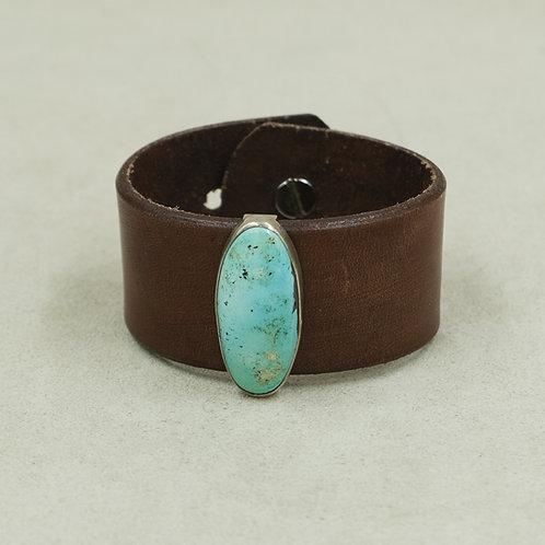 Leather Cuff with Stab Nevada Blue Turquoise by Peyote Bird