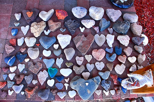 Heart Stone Collection on front porch