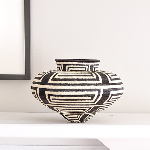 Modern Black and White Wounaan Basket