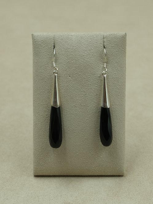 Sterling Silver Black Onyx Teardrop Earrings by Sanchi and Filia