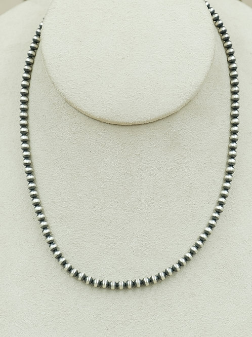 Sterling Silver Oxidized 4mm Bead Necklace by Maggie Moser