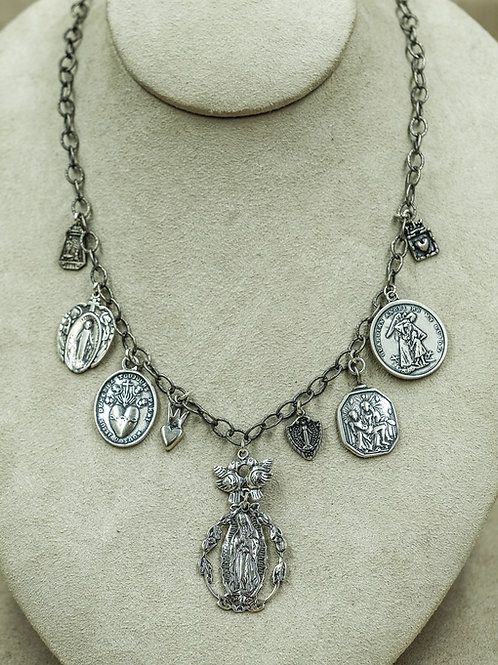Sterling Silver w/ Larger Assorted Religious Charms Necklace by Shoofly 505