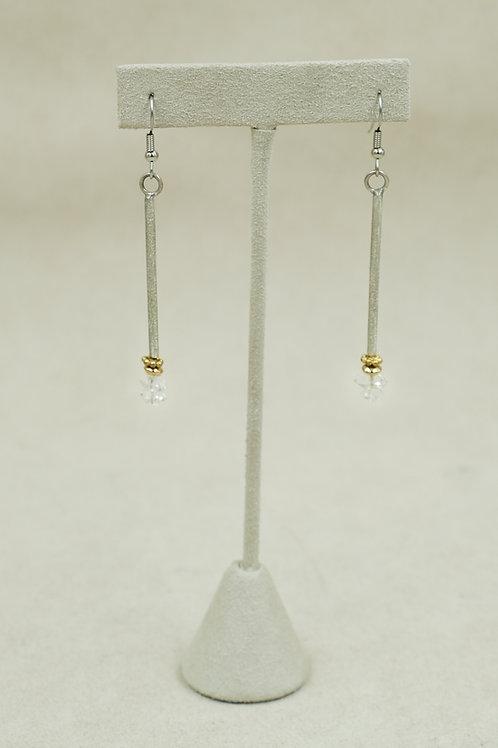 Long 18k Gold Herkimer Diamond Earrings by Jacqueline Gala