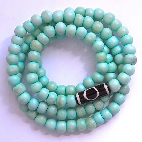 Seafoam Blue Bone Bead Mala