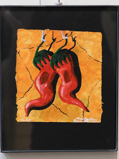 """""""Too Hot"""" Framed Acrylic on Handmade Paper by David Gary Suazo"""