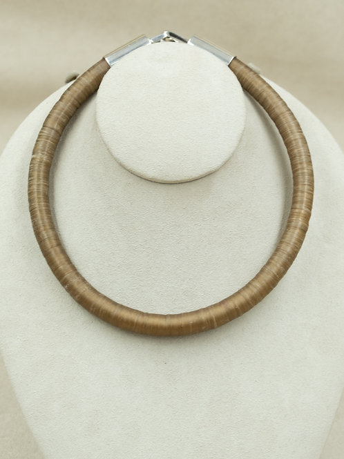 Sterling Silver with Sinew and Leather Choker