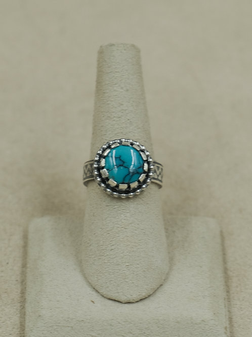 Sterling Silver w/ Chinese Turquoise 7x Ring by Michele McMillan