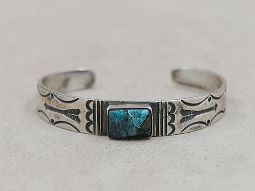 Sterling Silver Ingot Stamp Work w/ Blue Rectangle Turquoise Cuff by Mike French