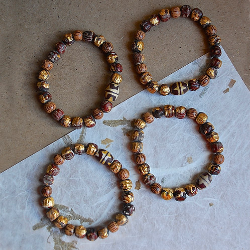 Contemporary Clay Terra Cotta Red with Rare Fire Agate Beaded Bracelets