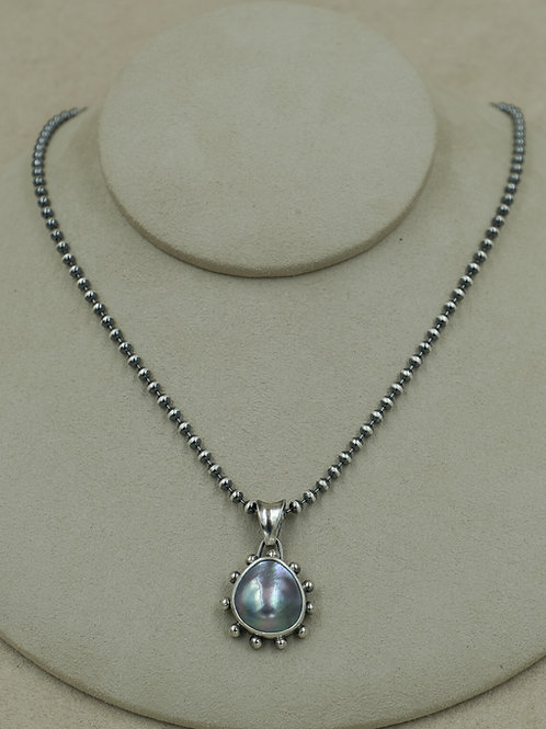 Sterling Silver Cortez Pearl w/ SS Bead Ball Chain by Michele McMillan