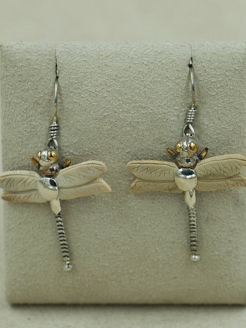 14k Gold S. Silver w/ Walrus Fossil Dragonfly Earrings by Zealandia
