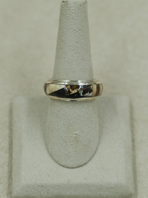 Sterling Silver Siberian Multi-Color Fossil Mammoth Tusk 9x Ring by GL Miller