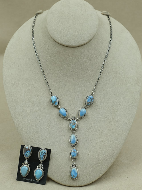 SS w/ Natural Golden Hills Turquoise Necklace and Earring Set by SWJ Designs