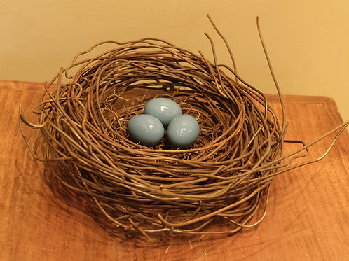 Large Handmade Metal Nest w/ 3 Steel Blue Eggs by Phil Lichtenhan