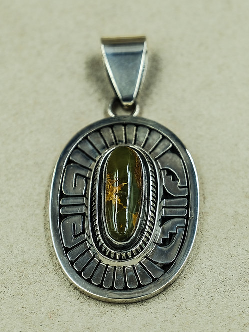 Sterling Silver w/ Royston Turquoise Pendant by Leonard Nez